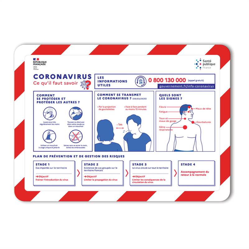 A4 Adhesive Safety Display Pockets, corona virus, red/white