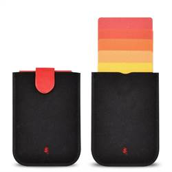 Premium UltraSlim Card Holder with Magnetic Closure, Black/red