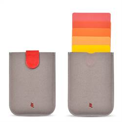 Premium UltraSlim Card Holder with Magnetic Closure, Grey/red