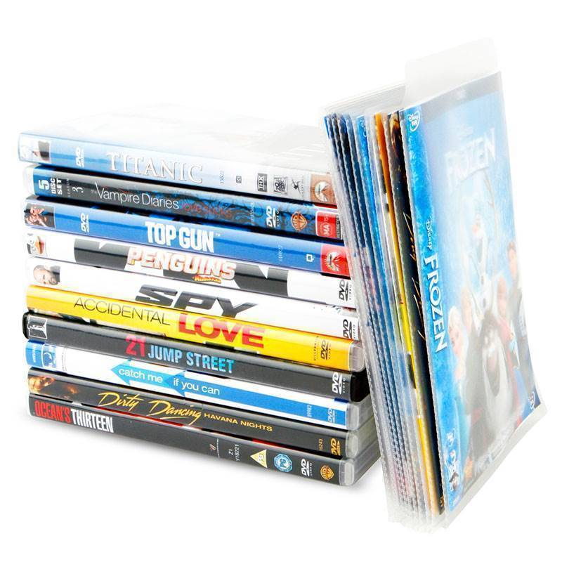DVD sleeves for DVD storage - room for cover - 100 pcs.