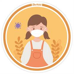 Self-adhesive School Stickers 'Girl wearing mask' - 2 pcs.